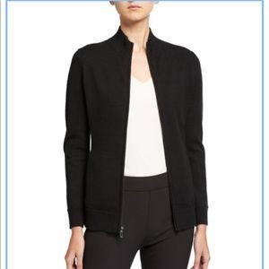 Neiman Marcus 100% Cashmere Black Zip Up Sweater L